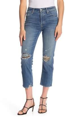 Mother The Tomcat High Waist Ripped Crop Straight Leg Jeans (Hella Hot)