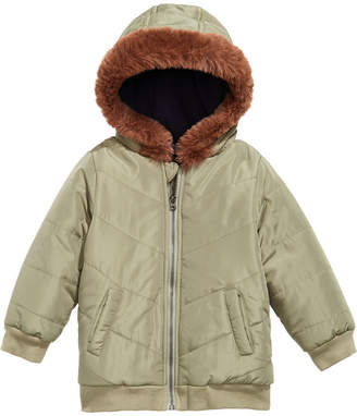 First Impressions Baby Boys Hooded Chevron Jacket With Faux-Fur Trim