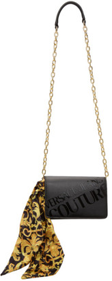 Versace Jeans Couture Black Institutional Logo Scarf Crossbody Bag