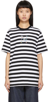 Noah NYC Black and White Stripe Bouquet T-Shirt