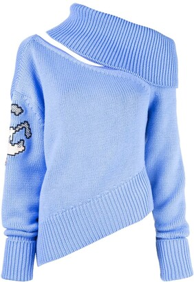 Monse Pluto shoulder cross stitch jumper