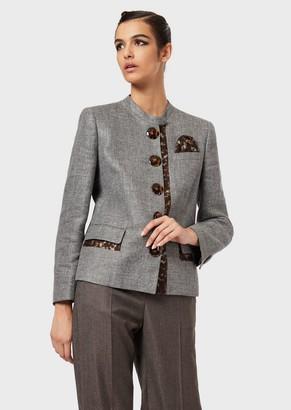 Giorgio Armani Silk And Linen Jacket With Tortoiseshell Details