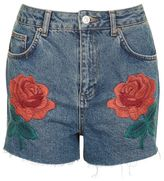 Topshop Moto rose embroidered shorts
