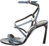 Lanvin Embossed Leather Wrap Sandals