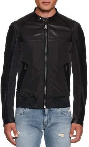 0bb1cc344 Men's Nylon/Leather Bomber Jacket