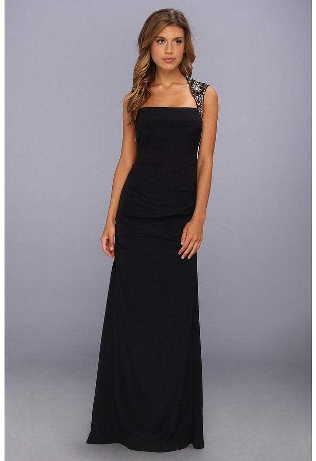 Nicole Miller Felicity Cutout Back Gown (Black) - Apparel