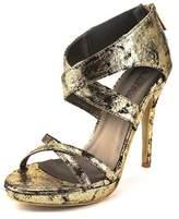 Michael Antonio Tamzah Women Open Toe Canvas Gold Platform Heel.
