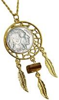 "Buffalo David Bitton American Coin Treasures Nickel Dream Catcher Pendant w/ Tiger's-Eye & 24""Chai"