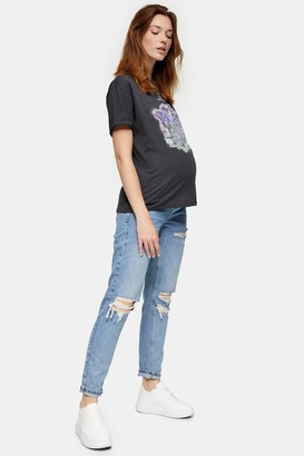 Topshop Womens **Maternity Bleach Stone Over The Bump Ripped Mom Jeans - Bleach Stone