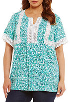 Intro Plus Short Sleeve Floral Print Rayon Lace Top