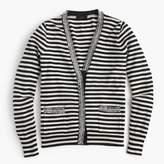 J.Crew Striped Harlow cardigan sweater with tweed trim