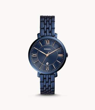 Fossil Jacqueline Three-Hand Date Blue Stainless Steel Watch Jewelry