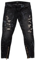 Balmain Embellished Distressed Jeans