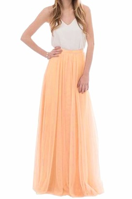 Elonglin Women's Long Tulle Skirt Floor Length Pleated A-line High Elastic Waist for Wedding Bridal Bridesmaids Maxi Tutu Party Dress (Color 21-M) Sky Blue