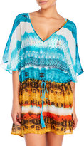 Hawaiian Tropic Printed Drawstring Caftan