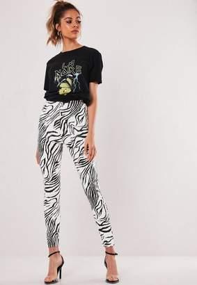 Missguided White Zebra Print Leggings