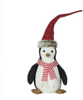 """Northlight 16"""" Large Plush Penguin in Striped Scarf and Santa Hat Christmas Figure"""