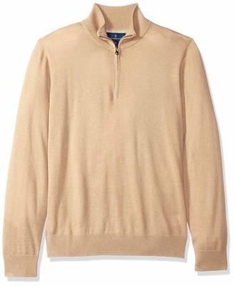 Buttoned Down Men's Italian Merino Wool Lightweight Cashwool Quarter-Zip Sweater