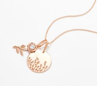 "Diamonique 26"" Wildflower Pendant Necklace, Sterling Silver"