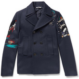 Valentino Embroidered Wool-felt Peacoat - Navy