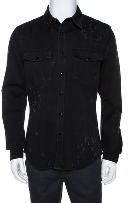 Givenchy Black Distressed Denim Button Front Shirt L