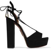 Aquazzura Austin Suede Platform Sandals - Black