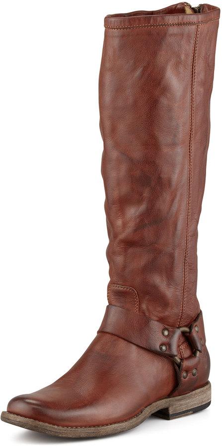 Frye Phillip Tall Harness Boot, Cognac