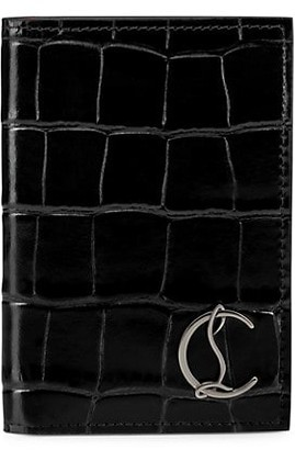 Christian Louboutin Logo Croc-Embossed Leather Passport Wallet