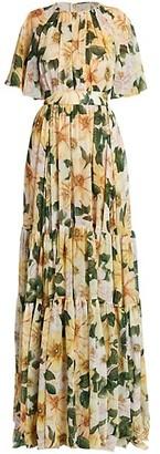 Dolce & Gabbana Floral Georgette Silk Tiered Gown