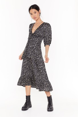 Nasty Gal Womens Gold Polka Tie Front Midi Dress - black - 6
