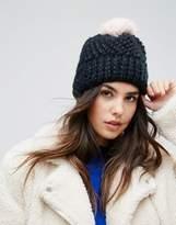 Urban Code Urbancode Soft Knitted Beanie Hat With Contrast Blush Pom Pom
