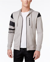 INC International Concepts Men's Zip-Front Hoodie with Faux-Leather Piecing, Only at Macy's