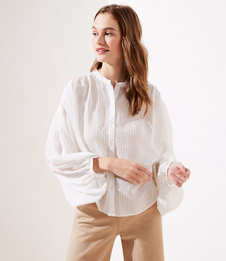 LOFT Striped Drop Shoulder Button Down Shirt