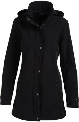 Weatherproof Women's Non-Denim Casual Jackets BLACK - Black Hooded Softshell Walker Jacket - Women & Plus