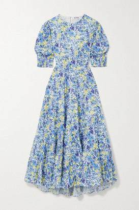 Rixo Agyness Cutout Tiered Floral-print Fil Coupe Cotton Maxi Dress - Sky blue