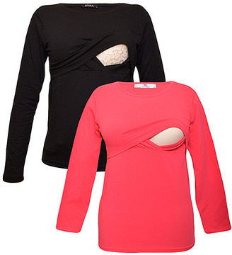 Myra Europe Women's Tee Shirts Black&Pink - Black & Pink Nursing Long-Sleeve Tee Set