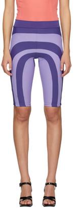 Paula Canovas Del Vas Purple Stretch Patchwork Biker Shorts