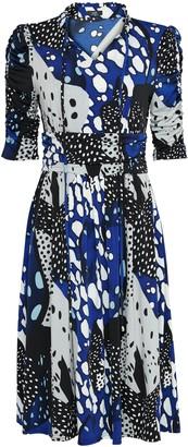 Wallis **Jolie Moi Blue Pattern Tie Front Dress