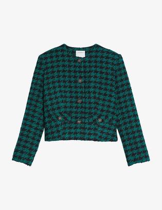 Sandro Clarissa houndstooth woven jacket
