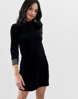 French Connection Aurore velvet high neck dress