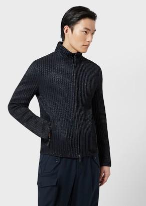 Giorgio Armani Leather Jacket With Geometric Silkscreen Print