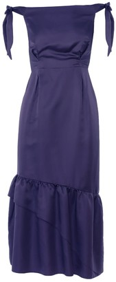 Dalb Sanziene Blue Silk-Blend Dress With Asymmetric Ruffled Hem