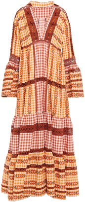 Dodo Bar Or Tiered Gingham Cotton-jacquard Maxi Dress