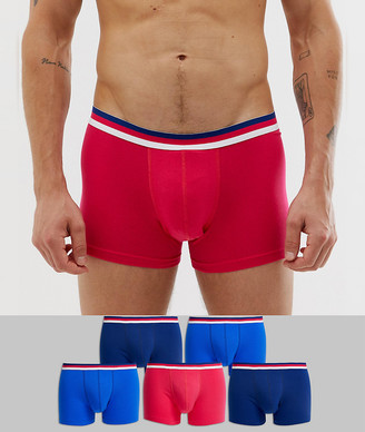 Trunks Asos Design ASOS DESIGN 5 pack in black blue and red with stripe waistband save-Multi