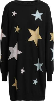 Boutique Moschino Metallic Intarsia Wool Mini Dress