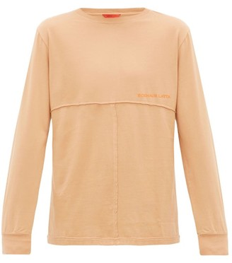 Eckhaus Latta Lapped-seam Cotton Long-sleeved T-shirt - Mens - Orange