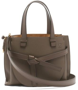 Loewe Gate Small Grained-leather Tote Bag - Womens - Dark Grey