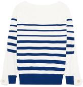 Sacai Lace-up Twill-paneled Striped Cotton Sweater - White