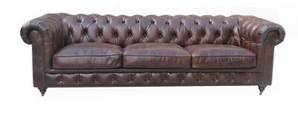 "Culpepper Leather Chesterfield 99"" Rolled Arms Sofa 17 Stories"