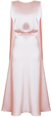 Undress Rosa Dusty Pink Midi Dress With Back Ribbons